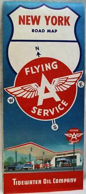 Tidewater Oil Flying A Service Station New York State Highway Road Map 1961