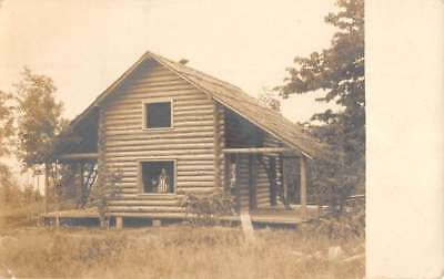 Petoskey Michigan Log Cabin Real Photo Antique Postcard K80567