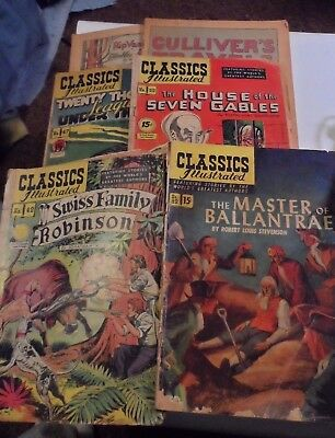 Reader's Lot: 6 Rough Classics Illustrated #82 (o) #42, 47, 52 LDC + 2 Coverless