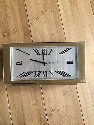 Vintage Brass Bulova Clock Mantle Desk Germany France MCM Retro Desk Office 1J