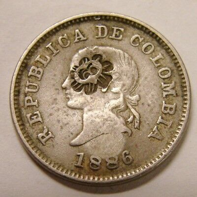 "Colombia 1886 5 Centavos w/ Unidentified ""Sunface"" Countermark on Both Sides"
