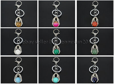Natural Gemstone Dragon Eagle Claw Round Ball Charm Beads Silver Plated Key Ring