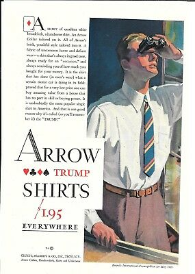 1929 Arrow Mens Trump Shirts Ad Handsome Man With Binoculars