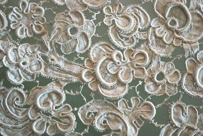 16-17Thc Italian Gros Point Lace Flounce Linen With Tag Rare!