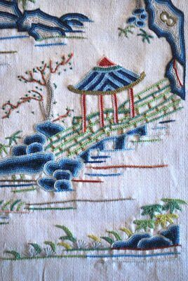 Antique Chinese Finely Embroidered Sleeve Band Fine Shaded Work With Figures