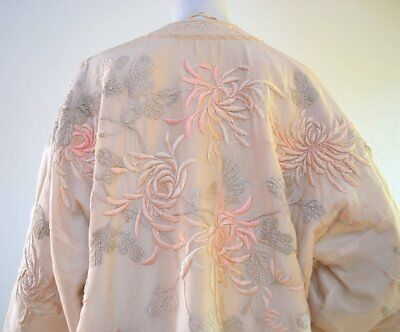 Antique Translucent Silk Chinese Robe With Lavish Embroidery In Pale Petal Pink