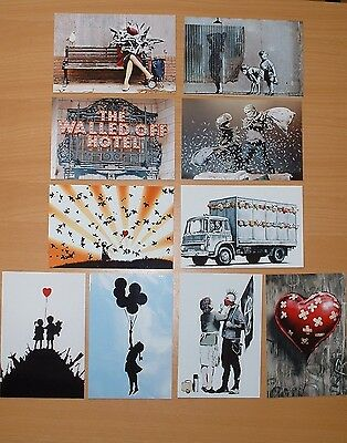 £3.99 NOT CANVAS. BANKSY### NEW SET OF TEN  ARTWORK POSTCARD SIZE PHOTO  PRINTS