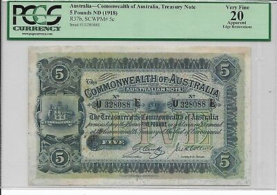 Australia, Commonwealth of Australia, Treasury Note - 5 pounds,  (1918). PCGS 20
