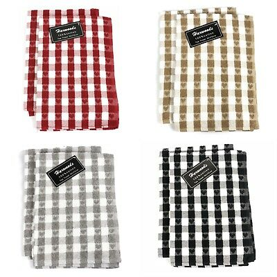 Twin Pack Cotton Heart Check Hand Dish Drying Kitchen Terry Tea Towels Dishcloth