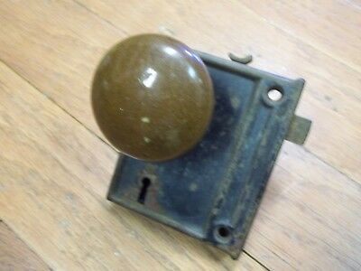 Vintage Metal LOCKSET with Brown enamled DOORKNOB