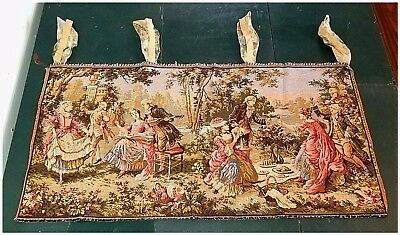"Antique BRIGHT COLORS Tapestry Victorian French WALL HANGING 40"" x 20"" VERY NICE"