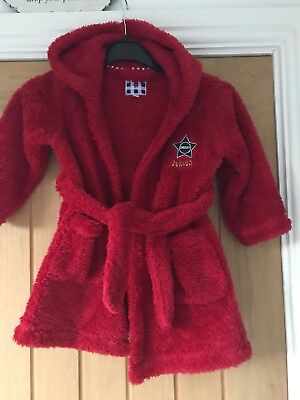 Baby Boys Junior J Red Christmasy Hooded Dressing Gown Aged 12-18 Months Vgc