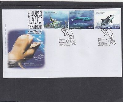 Malaysia 2015 Endangered Species dolphin First Day Cover FDC Kuala Lumpur pic pk