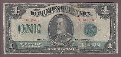 1923 $1 Dollar - McCavour Saunders - Green Seal - Dominion of Canada - E264