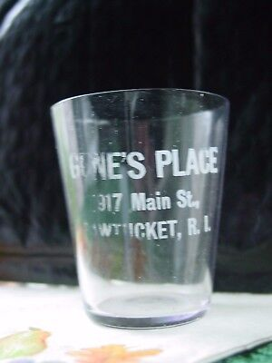 Antique Etched Pre-Pro Whisky Shot Glass Gene's Place 917 Main St. Pawtucket, RI