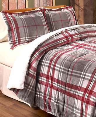 Remington® SUPER SOFT Sherpa Backed Plush Red Plaid Comforter Shams Queen King