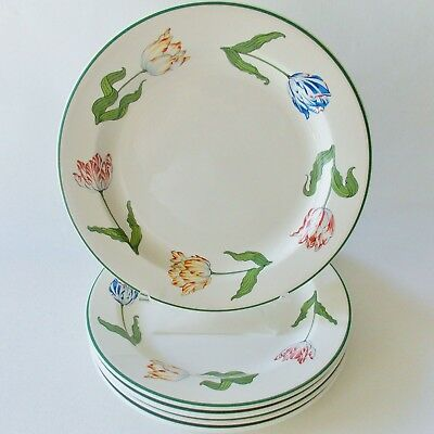 """Five Tiffany Tulips 9"""" Lunch Plates Tiffany China Yellow Red Blue Tulips Green"""
