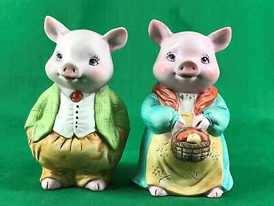Mr & Mrs Ceramic Figure Piggy Pig Bank in New Condition