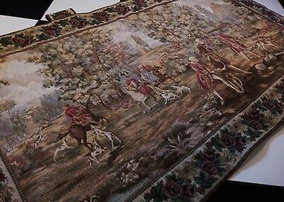 3 x VINTAGE Panneaux Gobelin FRENCH Tapestries 17th c Louis Hunting Wall Hanging
