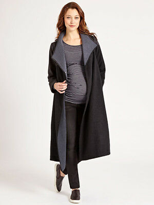 JoJo Maman Bebe Maternity Long Black Winter Wrap Coat, Jacket Small US 2/4 ;UK 8