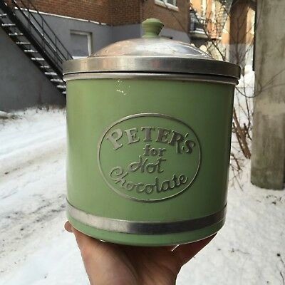 """VINTAGE c.1940 """"PETER'S FOR HOT CHOCOLATE"""" SODA FOUNTAIN CHOCOMALT CONTAINER"""