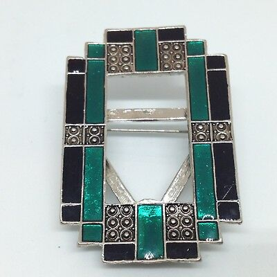 Vintage ART DECO STYLE PHOTO FRAME BROOCH PIN Black Teal Enamel Silver Tone