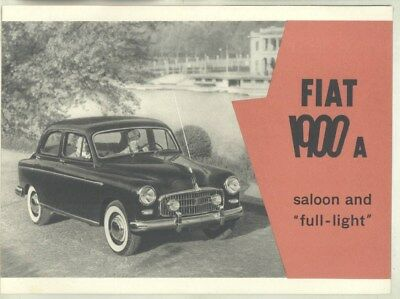 1954 Fiat 1900A Coupe & Saloon Brochure wy8885