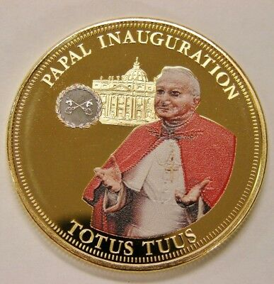 2014 Pope John Paul II Papal Inauguration Proof Crown Gold/Platinum Plated 40mm