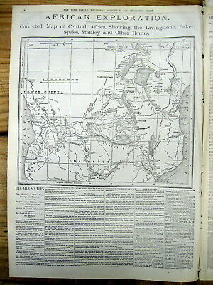 6 1875 display newspapers STANLEY EXPEDITION to AFRICA find SOURCE of NILE RIVER