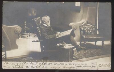 RP Postcard CRAWFORDSVILLE IN  Civil War General & Author Lew Wallace 1906