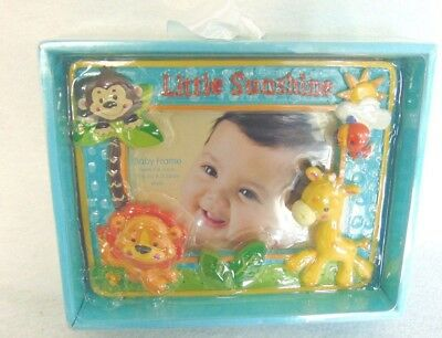 Fisher Price Picture Frame Baby Child Blue Little Sunshine Animals 4x6 Photo New
