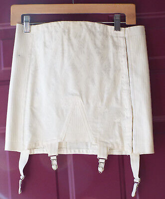 Vintage-New Open Girdle Size 30 L Whirl-Eez by Vanity White Floral Shimmer USA