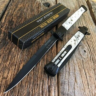 """TAC FORCE 13"""" Extra Large Spring Assisted Open STILETTO Pocket Knife PEARL"""