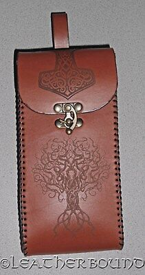 Norse Engraved Leather Viking Belt Pouch Hand Laced in Chestnut. LARP, Cosplay