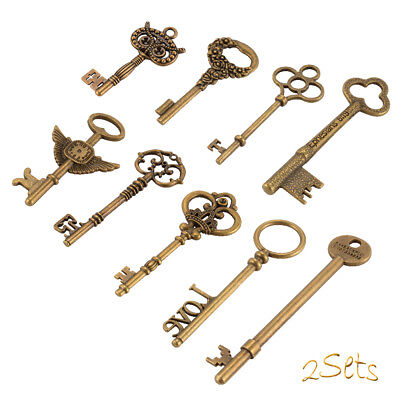 18x Antique Vintage Old Look Skeleton Key Pendant Heart Bow Lock Steampunk CR038