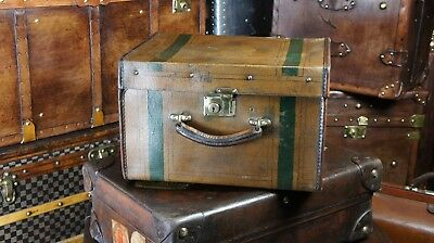 Antique Canvas & Leather Pipe Edged Hatbox