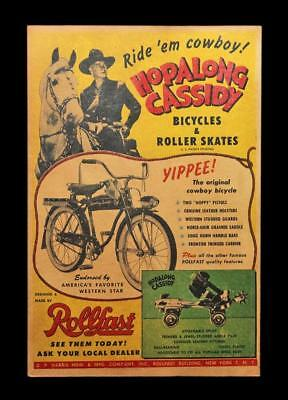 Vintage Hopalong Cassidy Cowboy Bicycles & Roller Skates Window Card Sign Hoppy