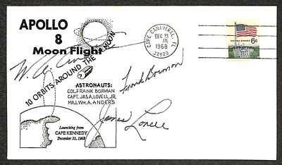 APOLLO 8 MOON FLIGHT ASTRONAUT AUTOGRAPHS (x3) COVER 1969