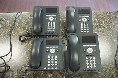 Lot of (4) Avaya 9620C IP Digital Office Phones with Handsets & Stands