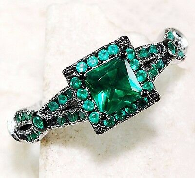 Emerald 925 Solid Sterling Silver Art Deco Filigree Ring Jewelry Sz 8