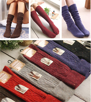 6 color Womens Wool Cashmere Warm Knee-High Thick Design Solid Winter Boot Socks