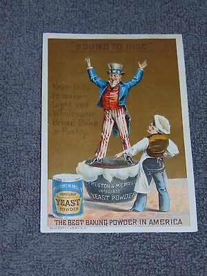 Late 1800's Trade Card: Preston & Merrill's Infallible Yeast Powder W/ Uncle Sam