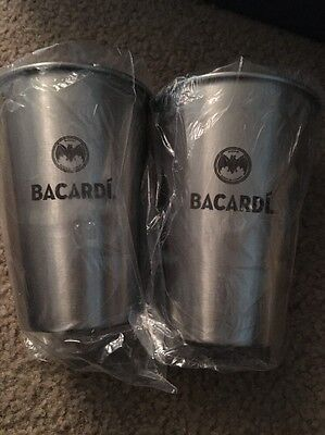 Bacardi Rum - Set Of Two Stainless Steel Cocktail Shaker Drinking Cup 12 Oz New