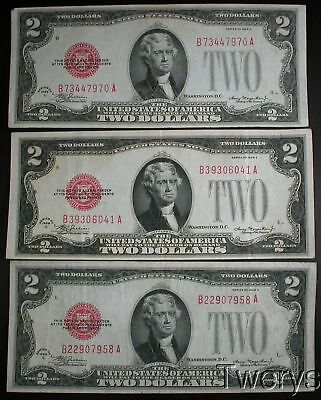 3 Piece Lot 1928C United States Notes $2 Vf And Xf