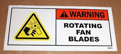 "Safety Label Warning Rotating Fan Blades Adhesive Decal Sticker 5-1/2"" X 2-1/2"""