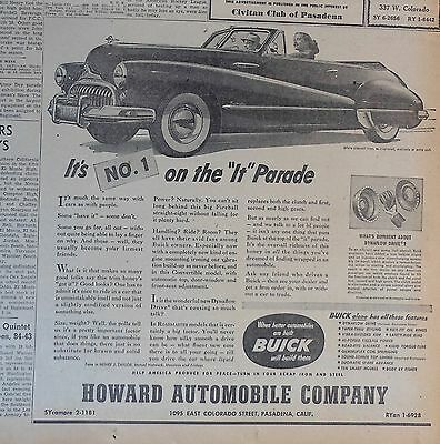 """1948 newspaper ad for Buick - No. 1 on the """"It"""" Parade, convertible, Dynaflow Dr"""