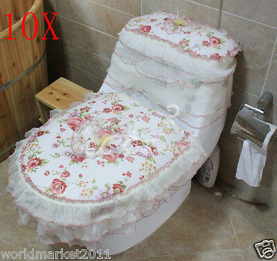 10X Lovely Style Practical Red S 45*32 CM Fabric Three-Piece Toilet Covers