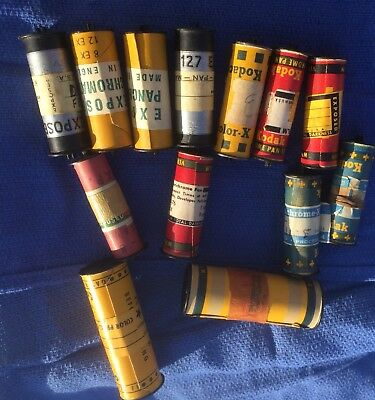 13 VINTAGE 1950s KODAK  EXPOSED  FILM ROLLS-127 FILM-PANCHROMATIC-L@@K/NR