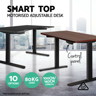 Motorised Electric Height Adjustable Standing Desk Table Computer 140cm 100cm