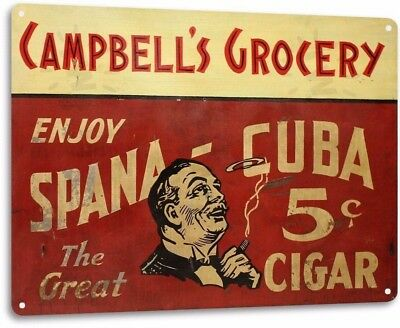 Spana Cuba Cigar Vintage Retro Tin Metal Sign